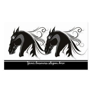 Black and white tribal horse head custom business business card