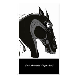 Black and white tribal horse head custom business business cards