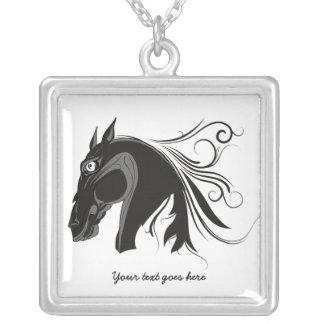 Black and white tribal horse head custom pendant