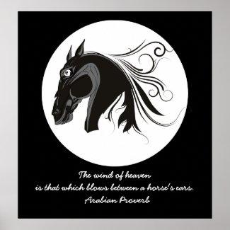 Black and white tribal horse head custom poster print