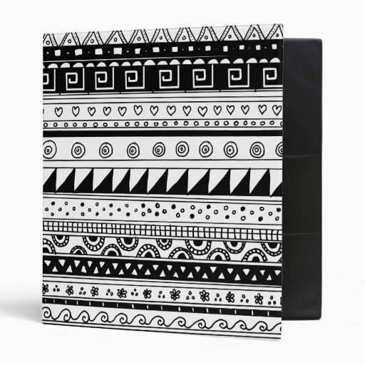 Black and white Tribal pattern Binders