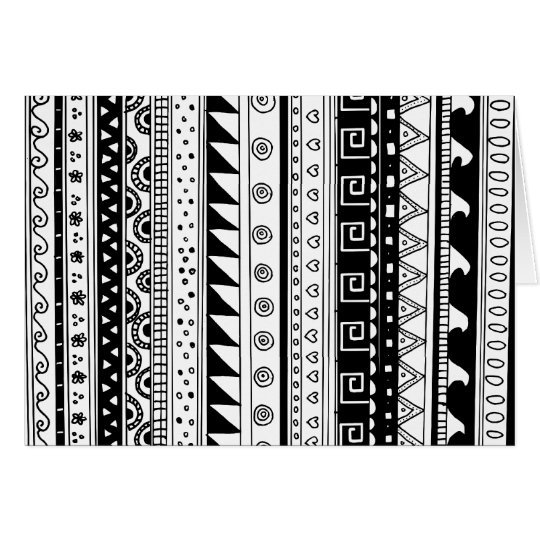 Black and white Tribal pattern Card