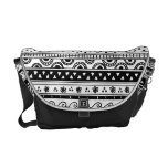 Black and white Tribal pattern Courier Bag