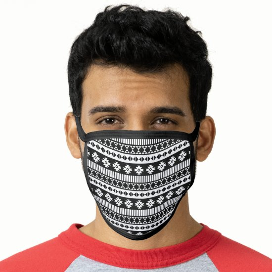 Black and White Tribal Pattern Face Mask