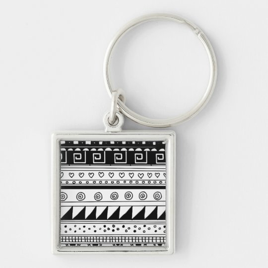 Black and white Tribal pattern Keychain