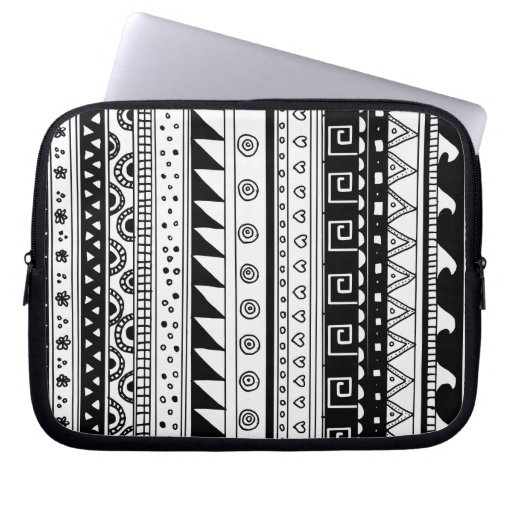 Black and white Tribal pattern Laptop Sleeves