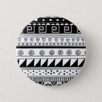 Black and white Tribal pattern Pinback Button