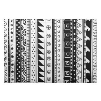 Black and white Tribal pattern Place Mat