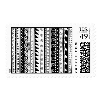 Black and white Tribal pattern Postage Stamps