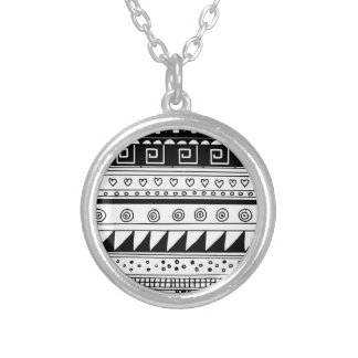 Black and white Tribal pattern Round Pendant Necklace