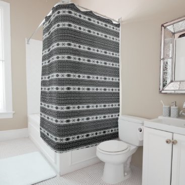 Aztec Themed Black And White Tribal Pattern Shower Curtain