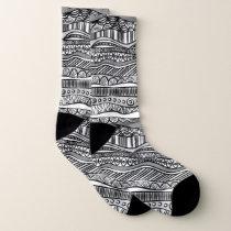 Black and white tribal pattern socks