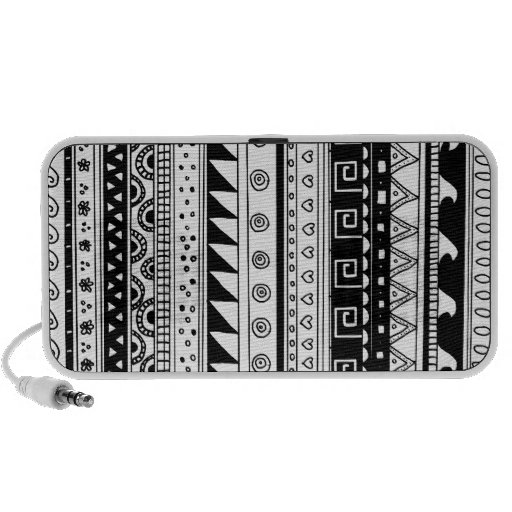 Black and white Tribal pattern Travel Speakers