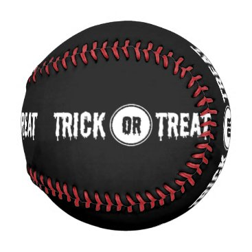 Halloween Themed Black And White Trick Or Treat Halloween Baseball