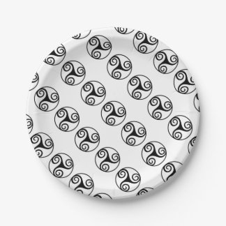 Black and White Triskelion or Triskele Paper Plate