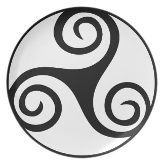Black and White Triskelion Plate