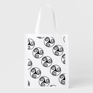 Black and White Triskelion Reusable Grocery Bag