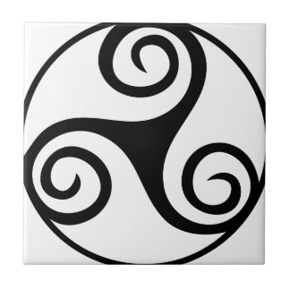 Black and White Triskelion Tile