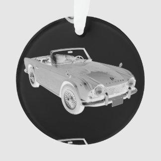 Black And White Triumph Tr4  Sports Car Ornament