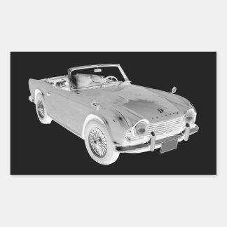 Black And White Triumph Tr4  Sports Car Rectangular Sticker
