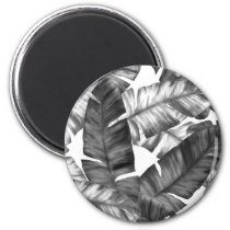 Black And White Tropical Banana Leaves Pattern Magnet