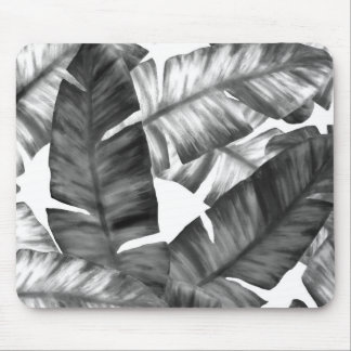 Black And White Tropical Banana Leaves Pattern Mouse Pad