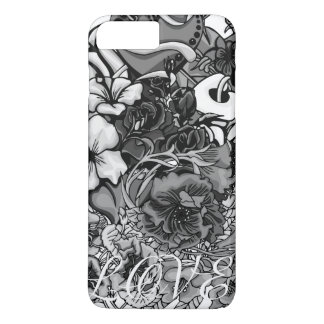 Black And White Tropical Flower Love iPhone Case