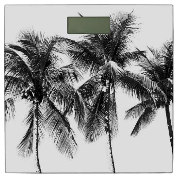 Beach Themed Black and white tropical palm tree bathroom scales bathroom scale