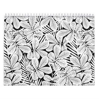 Black and white tropical plants calendar