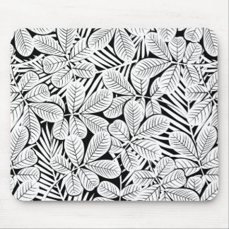 Black and white tropical plants mouse pad