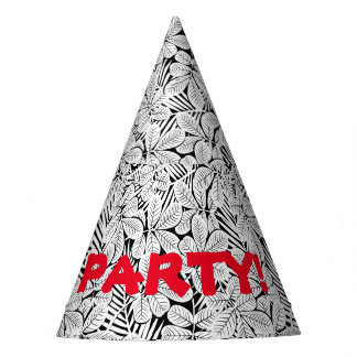 Black and white tropical plants party hat