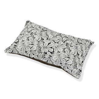 Black and white tropical plants pet bed