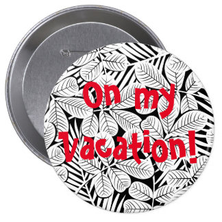 Black and white tropical plants pinback button