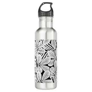 Black and white tropical plants water bottle