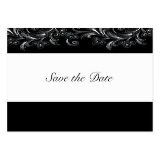 Black and White Tropical Vines Save The Date Cards Large Business Cards (Pack Of 100)