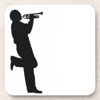 Black and White Trumpet Jazz Musician Drink Coaster