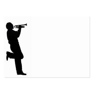 Black and White Trumpet Jazz Musician Large Business Card