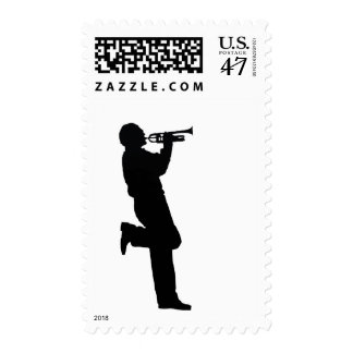Black and White Trumpet Jazz Musician Postage