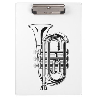 Black and White Trumpet Sketch Musical Instrument Clipboard