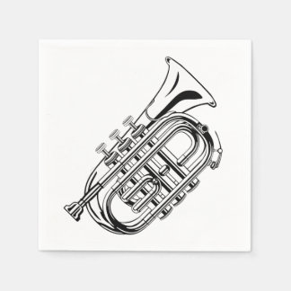 Black and White Trumpet Sketch Musical Instrument Disposable Napkins