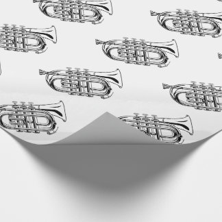 Black and White Trumpet Sketch Musical Instrument Wrapping Paper