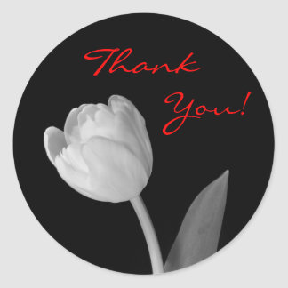 Black and White Tulip, Thank, You! Classic Round Sticker