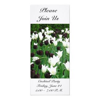 "BLACK AND WHITE TULIPS (PHOTOG) CUSTOMIZABLE INVIT 4"" X 9.25"" INVITATION CARD"