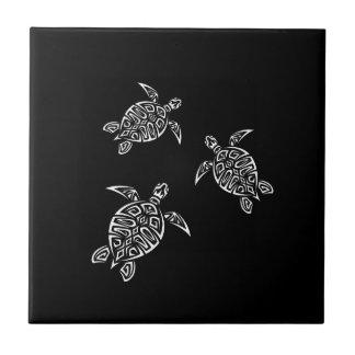 Black And White Turtles Tatoo Animal Ceramic Tile