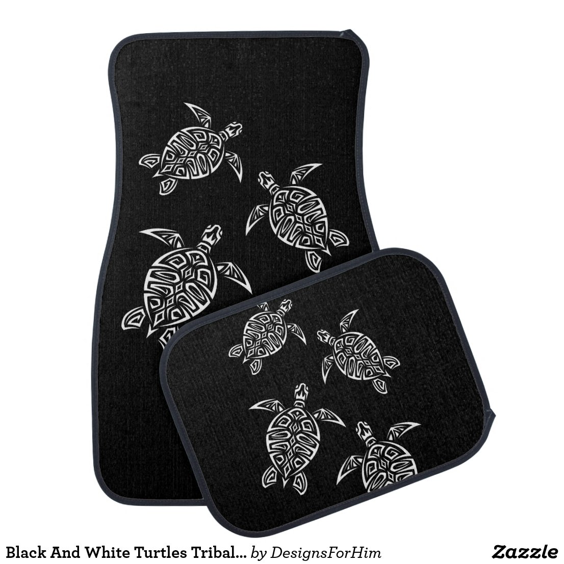 Black And White Turtles Triabal Tattoo Animal Car Floor Mat