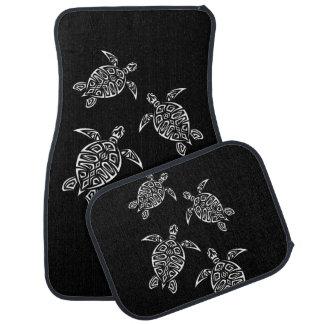 Black And White Turtles Triabal Tattoo Animal Car Floor Mat