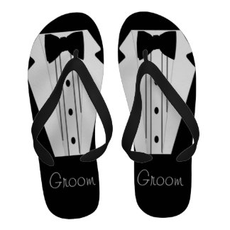 Black and White Tuxedo-Bow Tie Flip Flops