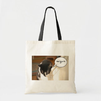 black and white tuxedo Cat Tote Bags