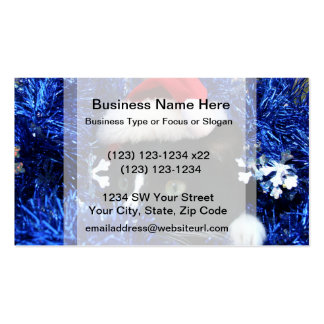 Black and white tuxedo cat christmas hat tinsel business card template