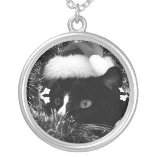 Black and white tuxedo cat christmas hat tinsel bw pendants